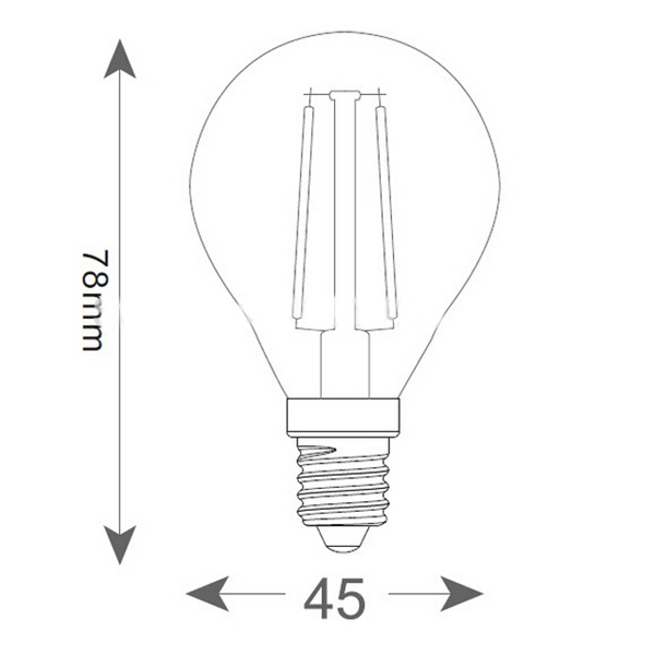 Εικόνα της Filament E14 Λάμπα Led G45 4W 400Lm Ψυχρό λευκό