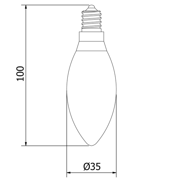Εικόνα της Filament E14 Λάμπα Led Κερί 4W 400Lm Θερμό λευκό