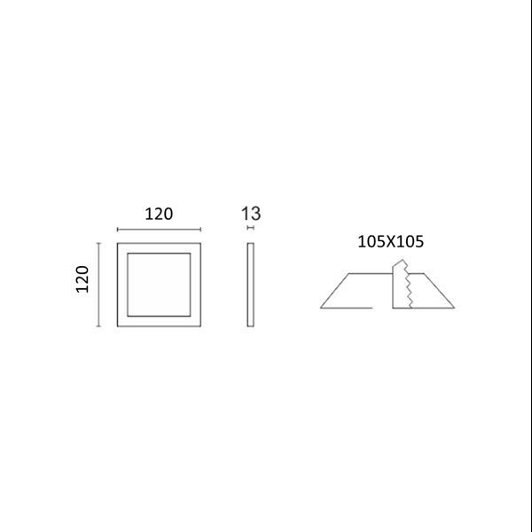 Εικόνα της Led Mini Panel τετράγωνο χωνευτό 6watt Φυσικό λευκό