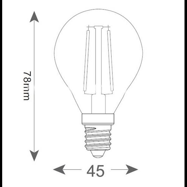 Εικόνα της Filament E14 Λάμπα Led G45 2W 200Lm Φυσικό λευκό