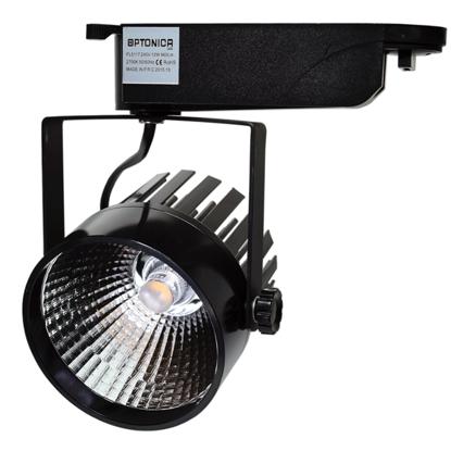 Εικόνα της LED Interior Track Light COB Μάυρο 25W Ψυχρό Λευκό