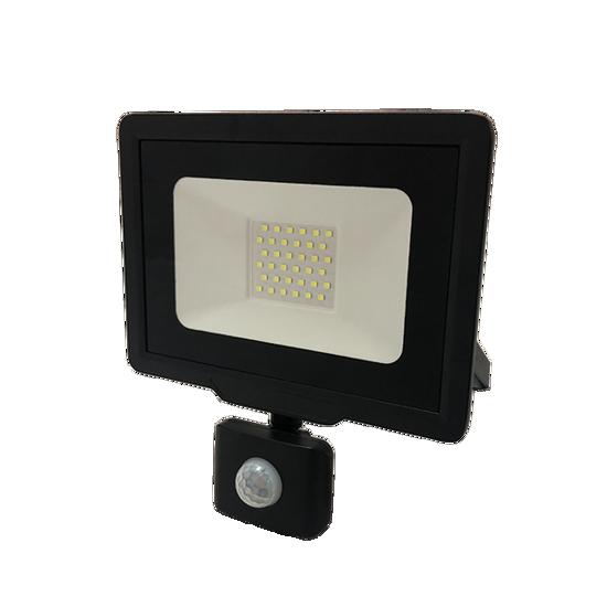 Εικόνα της LED Προβολέας 50 Watt  City Line με Ανιχνευτή Κίνησης Φυσικό Λευκό Μαύρος